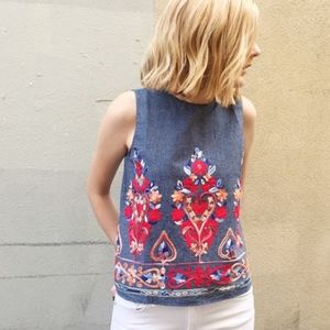 English Factory Floral Embroidered Tank Top Blouse